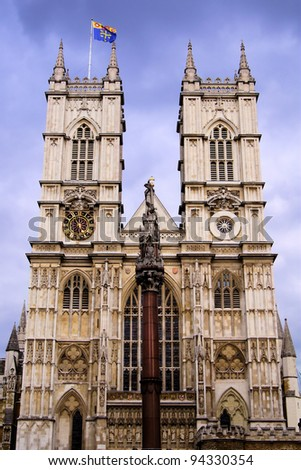 The facade of the iconic Westminster Abbey, London - stock photo