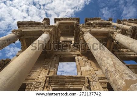 The facade of the Library in Ephesus, the Roman ruins near Kusadasi, Turkey - stock photo