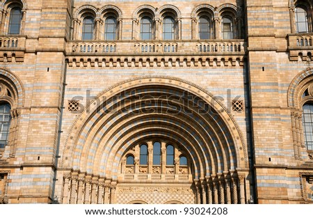The Facade of the Natural History Museum in london, UK. - stock photo