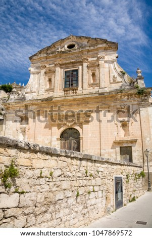 The facade of the Santa Maria della Consolazione church in the town of Scicli in southern Sicily in Italy