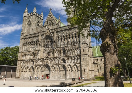 The Facade of Trondheim Cathedral in Norway