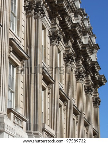 The facade of Whitehall building in London, UK - stock photo