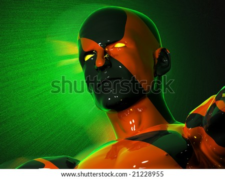 The face of an abstract black-red man - stock photo