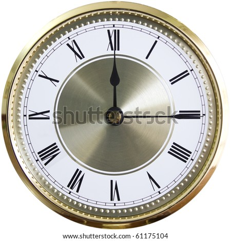 the face of an old clock with Roman numbers - stock photo