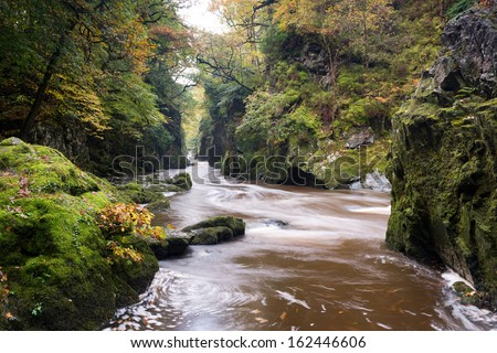 The Fairy Glen at Betws-y-Coed ,Snowdonia,Wales - stock photo