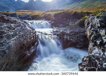 The Fairy Pools and the mountains of Glenbrittle at early morning on Isle of Skye - Scotland, UK - stock photo