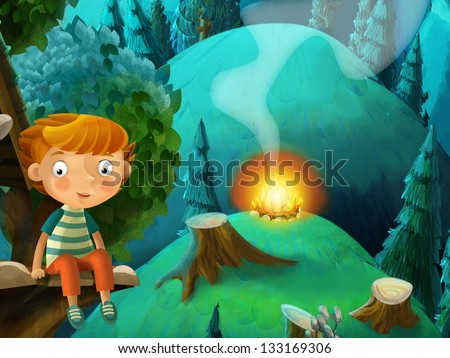 The fairy tales drawing of a child in the wood - illustration for the children - stock photo