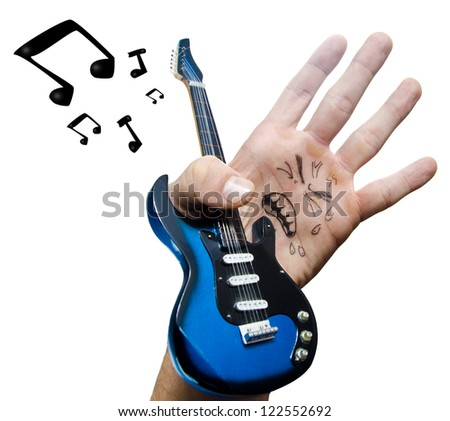 The fake Rock singer is a hand. - stock photo