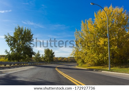 The fall colors on the trees surround this street or road.