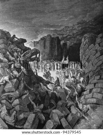 The fall of Jericho. 1) Le Sainte Bible: Traduction nouvelle selon la Vulgate par Mm. J.-J. Bourasse et P. Janvier. Tours: Alfred Mame et Fils. 2) 1866 3) France 4) Gustave Doré - stock photo