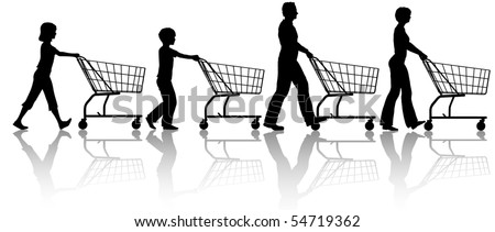 The family that shops together - mom dad kids push shopping carts.