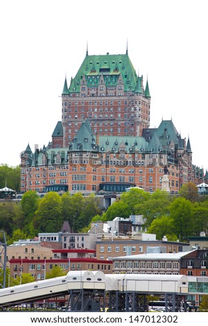 The famous and historical Chateau Frontenac in Quebec City, Canada. - stock photo