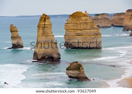 The famous 12 apostles on the great ocean road - stock photo