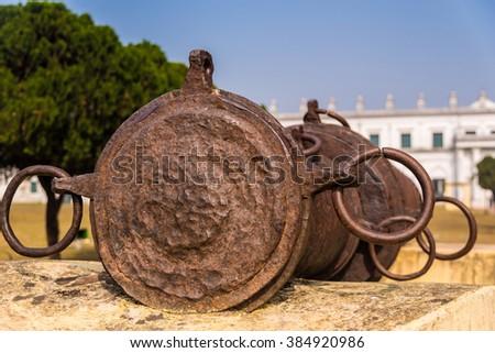 The famous Bachhawali Tope cannon at Hazarduari palace near Nizamat fort in Murshidabad, India. - stock photo