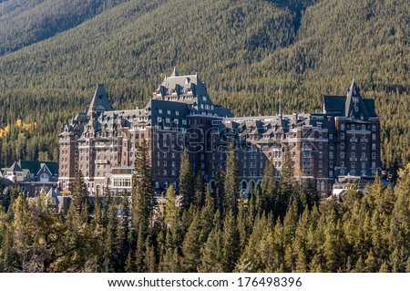 The famous Banff Springs Hotel, located in Banff National Park, Alberta, Canada - stock photo