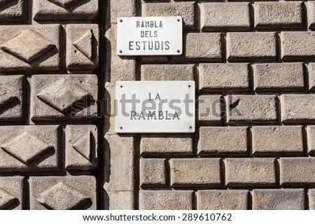 The famous Barcelona (Spain) landmark - La Rambla Avenue - stock photo