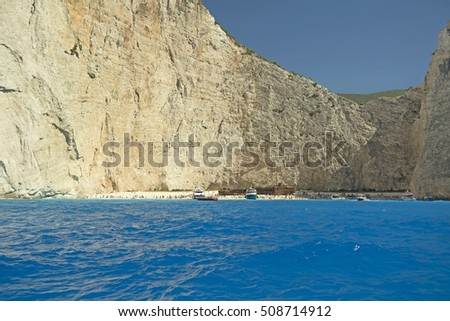 The famous beach of Navagio (wreckage) in the island of Zakynthos, Greece