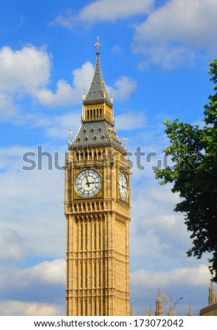 The famous Big Ben in the city of London, United Kingdom  - stock photo