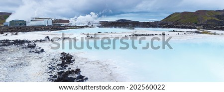 The famous blue lagoon geothermal bath near Reykjavik, Iceland. Panorama - stock photo