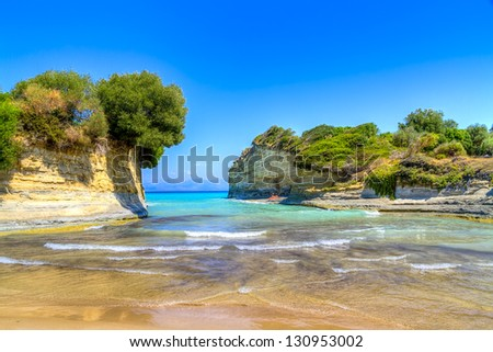 The famous Canal D'amour beach,Corfu island, Greece - stock photo