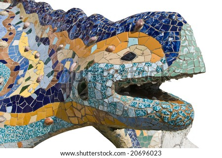 the famous chamaeleon in parc guell styled by antonio gaudi - stock photo