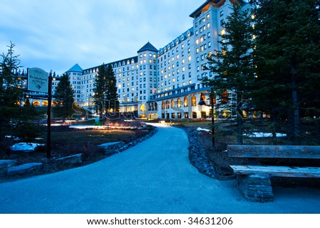 The famous Chateau Lake Louise in Banff National Park, Alberta, Canada - stock photo