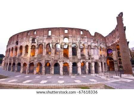 The Famous Coliseum (or Colosseum) in Rome, Italy - stock photo