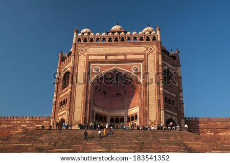 The famous entrance at Faterpur sikri Agra - stock photo