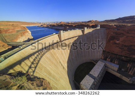 The famous Glen Canyon Dam around Lake Powell, Page, Arizona