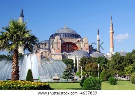 The famous Hagia Sophia mosque, Istanbul, Turkey - stock photo