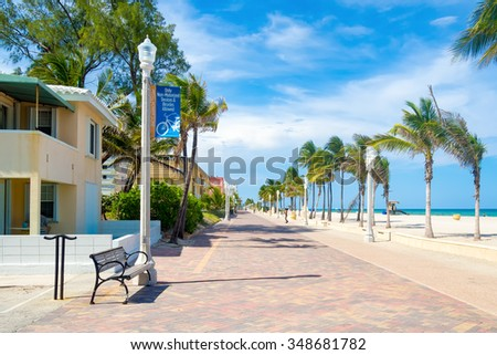 The famous Hollywood Beach boardwalk in Florida - stock photo