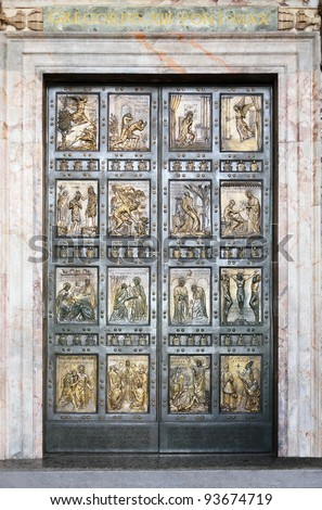 The famous Holy Door at St. Peter?s Basilica in Vatican. Rome, Italy - stock photo