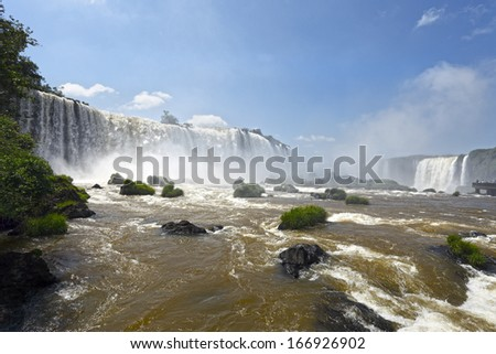 the famous Iguazu Falls on the border of Brazil and Argentina