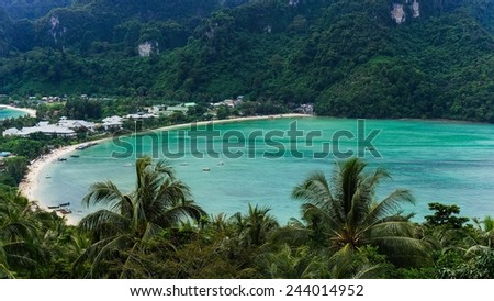 The famous isthmus of Ko Phi Phi  - stock photo
