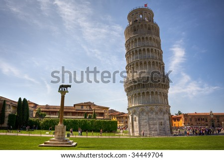 The famous leaning tower in Pisa. Italy - stock photo