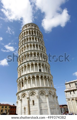 The famous Leaning Tower of Pisa in Italy