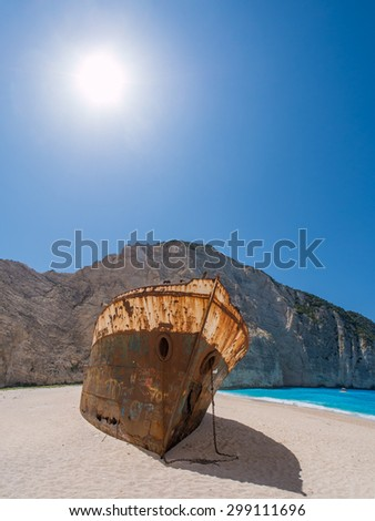 The famous Navagio Shipwreck beach in Zakynthos island Greece - stock photo