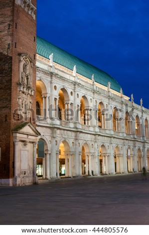 The famous palladian basilica by night, Lords Square in Vicenza