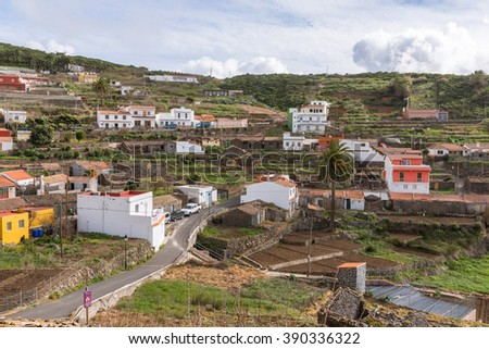 The famous pottery town El Cercado in the highlands of the Canary Island La Gomera. The terraced gardens is a typical landscape on the island. Agriculture determine the picture on the Island  - stock photo
