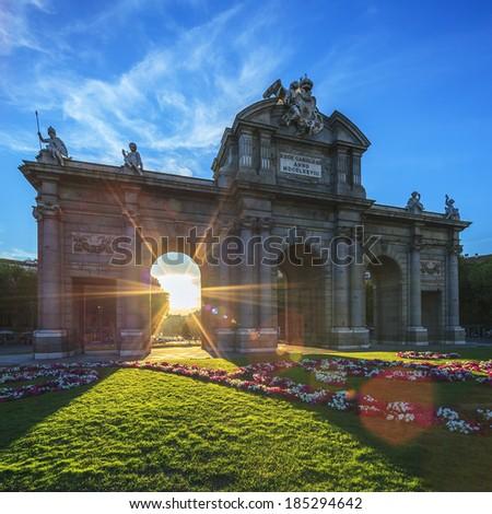 The famous Puerta de Alcala at sunset, Madrid, Spain - stock photo