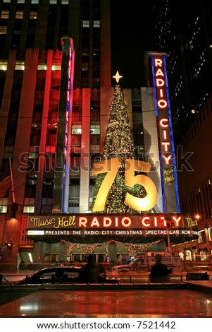 The famous Radio City Music Hall in Midtown Manhattan NYC - stock photo