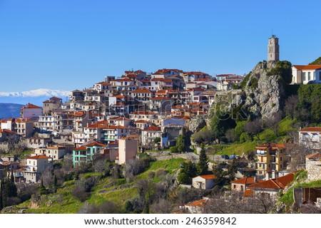 The famous resort of Arachova on mountain Parnassos, Greece - stock photo