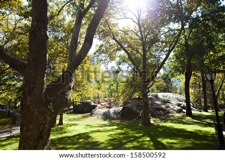The famous rocks of Central Park in New York City during early fall near the Colombus Circle end. Slight lens flare on the sunlight through the trees. - stock photo