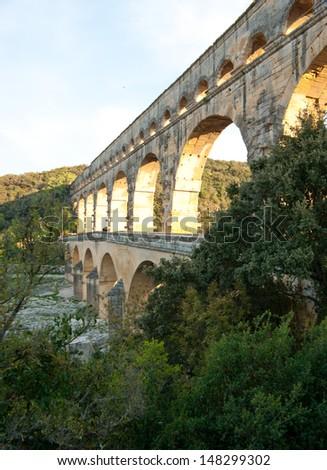 The famous Roman bridge Pont du Gard is beautiful from any angle of view, located near Avignon, France..