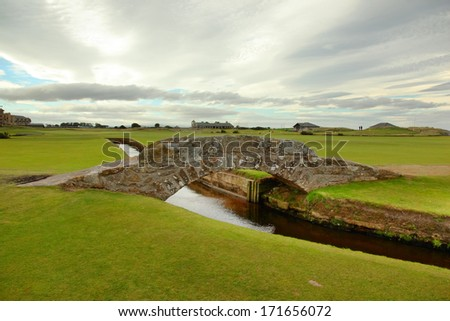 The famous Swilcan bridge on St Andrew Old Course - stock photo