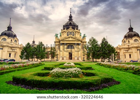 The famous Szechenyi thermal Baths, spa and swimming pool inin the Budapest-Hungary - stock photo