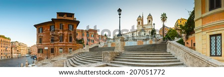 The famous terraced Spanish steps (1723) at first light leading to the church of Trinita dei Monti at the top of Pincio. - stock photo