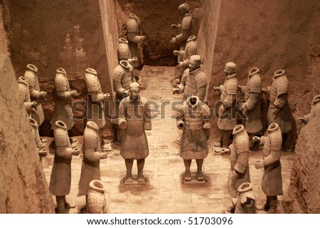 The famous terracotta warriors of XiAn, China - stock photo