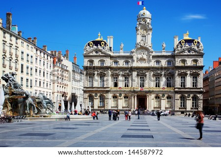 The famous Terreaux square in Lyon city - stock photo