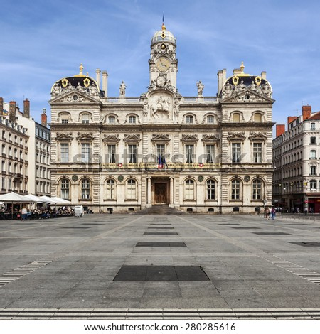 The famous Terreaux square in Lyon city, France